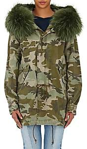 Mr & Mrs Italy Women's Fur-Trimmed Canvas Midi-Parka - Camouflage Army