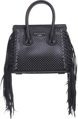 Balmain Black Studded Leather Mini 3D Fringes Leather Satchel Bag