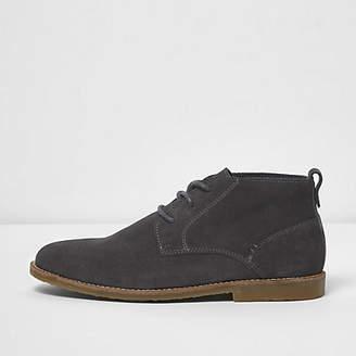 River Island Dark grey suede chukka boots