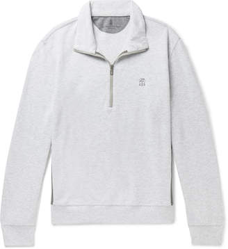 Brunello Cucinelli Panelled Cotton-Blend Jersey and Shell Half-Zip Sweatshirt - Men - Gray