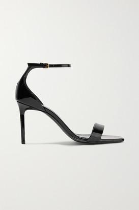 Saint Laurent Amber Patent-leather Sandals - Black