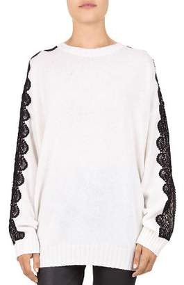 The Kooples Lace Sleeve Knit Sweater