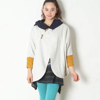 チャイハネ 【 】yul ポンチョ型ニットフードジャケット ホワイト