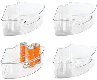 Lazy Susan mDesign Plastic Kitchen Cabinet Storage Organizer Bin with Front Handle - Small Pie-Shaped 1/4 Wedge