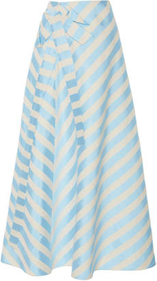 DELPOZO Bow-Embellished Striped Linen-Blend Midi Skirt