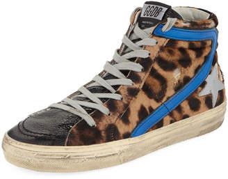 Golden Goose Slide Leopard High-Top Sneakers
