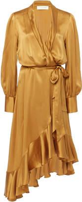 Zimmermann Asymmetric Silk-Satin Wrap Dress