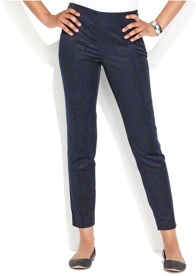 INC International Concepts Pants, Skinny Snake-Print Side-Zip