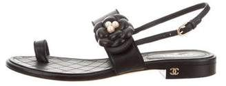 Chanel Leather Camelia-Accented Sandals