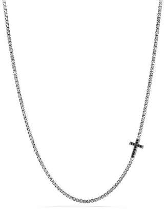 David Yurman Pavé Cross Necklace with Black Diamonds