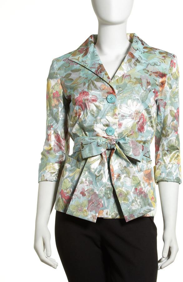 Lafayette 148 New York Floral Jacquard Tie-Waist Jacket