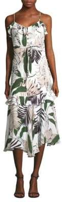 Milly Silk Sleeveless Tropical Print Dress