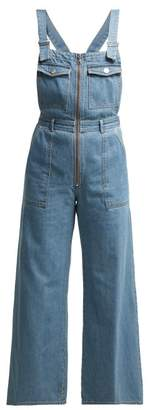 c55185d4fa Sea Washed Denim Wide Leg Cropped Dungarees - Womens - Denim