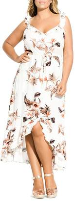 City Chic Plus Sleeveless Floral-Print Ruffled Maxi Dress