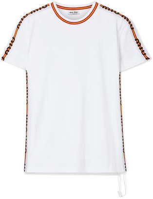 Miu Miu Striped Cotton-jersey T-shirt - White