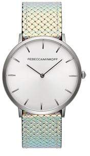 Rebecca Minkoff Major Silver Tone Iridescent Strap Watch, 40MM