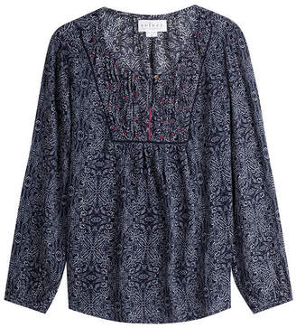 Velvet Printed Tunic Blouse