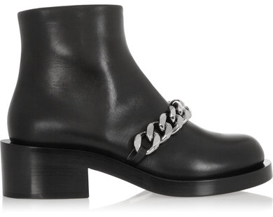 Givenchy Laura Chain-trimmed Leather Ankle Boots - Black