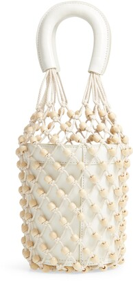 STAUD Moreau Beaded Caged Bucket Bag