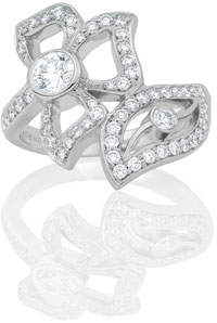 Carelle 18K White Gold Florette Diamond Wrap Ring, Size 7