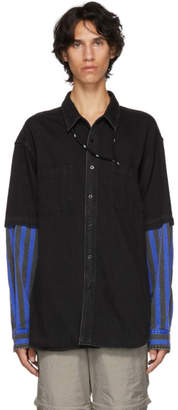 Balenciaga Black and Blue Combo Fabric shirt