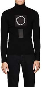 ALYX Men's Thorn-Crown-Patch Rib-Knit Wool Turtleneck Sweater-Black
