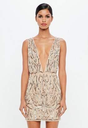 Missguided Nude Embellished Plunge Mini Dress