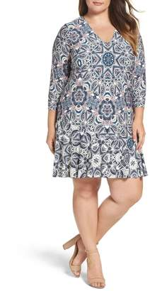 Eliza J Mixed Paisley A-Line Dress