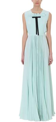 Rochas Mint Green Silk Pleated Front Gown Pussy Dress
