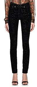 Saint Laurent Women's Leopard Velvet Skinny Jeans - Black