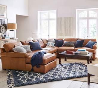 Pottery Barn Townsend Roll Arm Leather Build Your Own Sectional