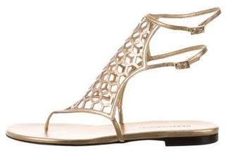 Tamara Mellon Metallic Laser Cut Sandals
