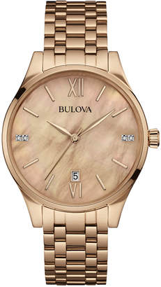 Bulova Women's Diamond Accent Rose Gold-Tone Stainless Steel Bracelet Watch 36mm 97P113 $350 thestylecure.com