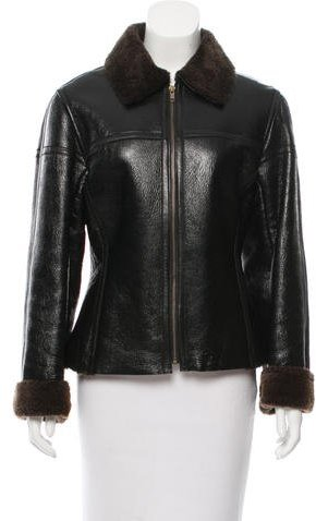 KenzoKenzo Patent Leather Shearling Jacket