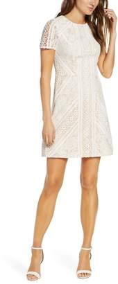 Eliza J Lace Short Sleeve Shift Minidress