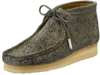 Sycamore Style Men's Suede Wallabee/Moc Chukka Boot, Gray with Black Speckle Print