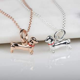 Nest Silver Or Rose Gold Dachshund Pendant