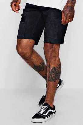 boohoo Slim Fit Denim Short in Black with Patchwork