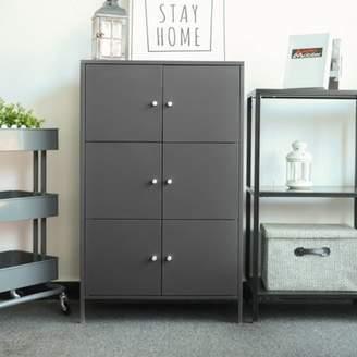 iKayaa Modern 6-Door Floor Cabinet Metal Storage Cabinets Locker Bedroom Bathroom Furniture