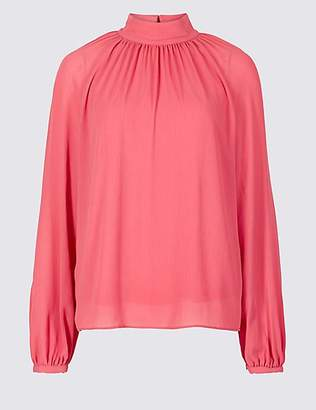 M&S Collection Funnel Neck Long Sleeve Blouse