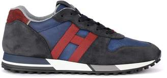 Hogan H383 Blue And Red Suede And Fabric Sneaker