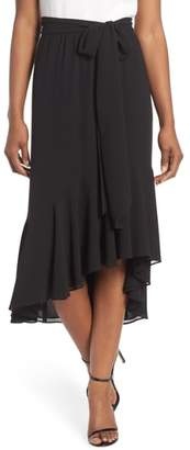 Eliza J Asymmetrical High/Low Flounce Skirt