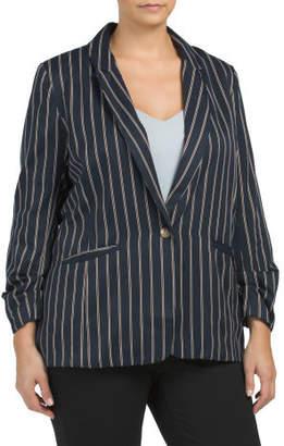 Plus Stripe Stretch Blazer