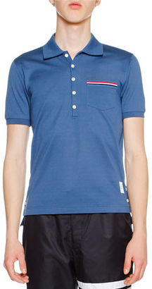 Thom Browne Heather Polo Shirt with Striped Pocket $350 thestylecure.com