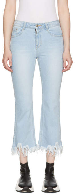 Blue Ripped Hem Jeans