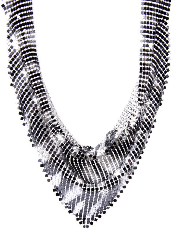 Kitson Zebra Print Mesh Statement Necklace