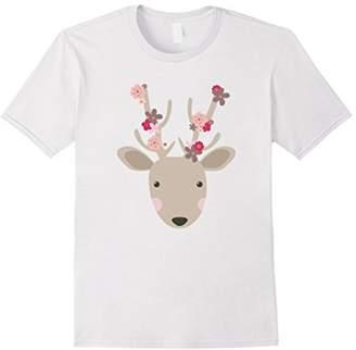 Spring Deer With Flowers T-Shirt Deer Tee Shirt Art Prints