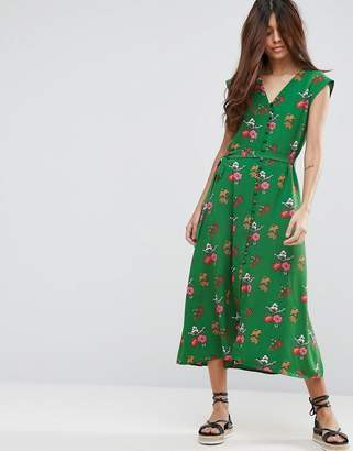 Asos Midi Tea Dress In Green Ditsy Floral