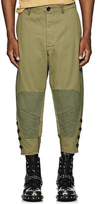 Loewe Men's Patchwork Cotton Crop Trousers - Olive