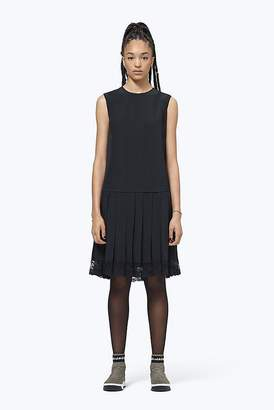 Marc Jacobs Silk Pleated Drop-Waist Dress With Lace Hem